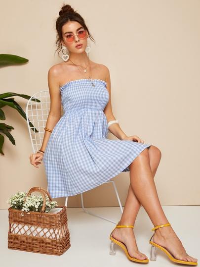 4cffcfb5f84 Frilled Trim Shirred Bodice Plaid Tube Dress