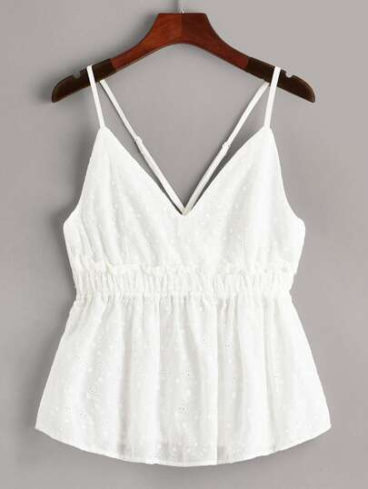 59a1d42a3ac0dd Schiffy Ruffle Hem Criss Cross Back Cami Top