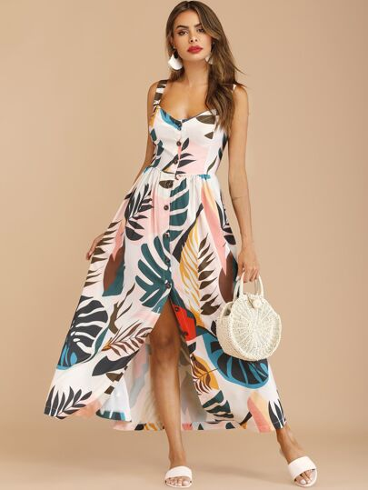 6e130754424 Button Through Tropical Print Maxi Dress