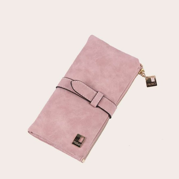 Fold Over Suede Purse, Dusty pink