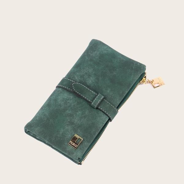 Fold Over Suede Purse, Dark green