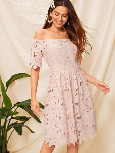 b71d941fed43 Off Shoulder Fit   Flare Guipure Lace Dress
