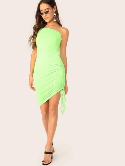 8ff29b71593 Neon Green Drawstring Side Tube Dress