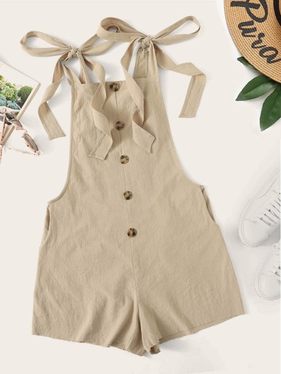 8941925874f9 Tied Strap Button Front Low Side Romper