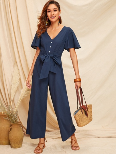 79287b87f4d Buttoned Front Belted Wide Leg Jumpsuit