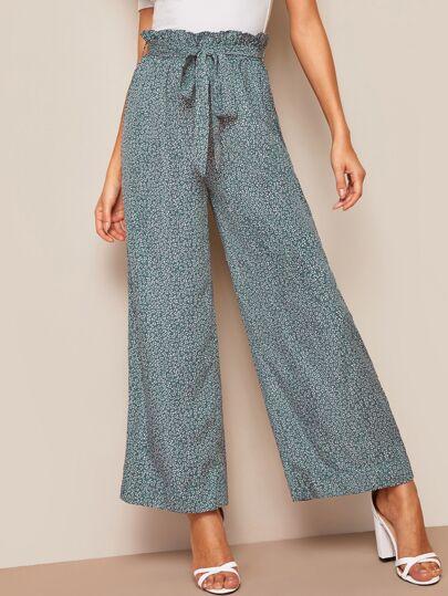 0e72161b052 Pantalon ample avec imprimé floral et taille plissée