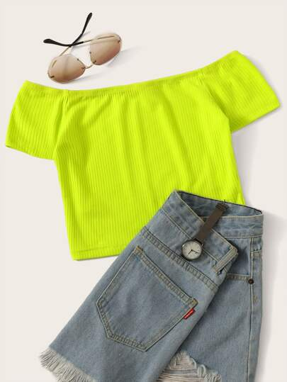 6d01d8aa1c7a7 Neon Lime Off Shoulder Rib-knit Tee