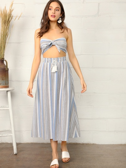 9bdb707f81 Knotted Striped Tube Top   Skirt Set