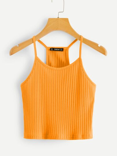 c3645357d35059 Neon Orange Rib-knit Racerback Cami Top