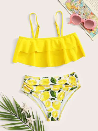2c8103e27d32 Girls Tiered Layer Top With Lemon Ruched Bikini