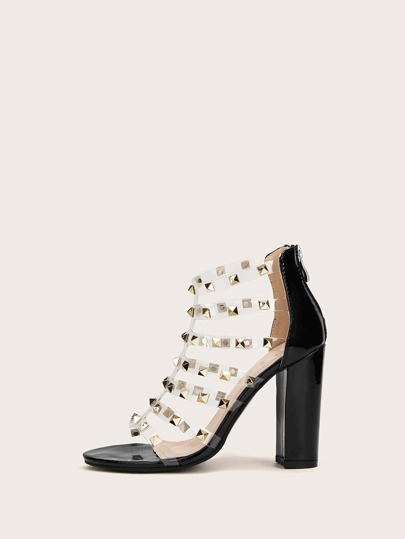 a0e680d0597 Studded Decor Clear Strappy Chunky Heels