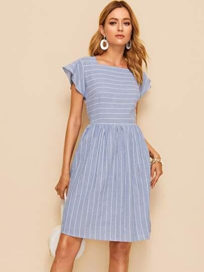0904fa0a52b5 Striped Square Neck Fit   Flare Dress