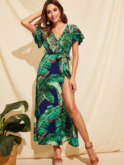 442b640e5ed Jungle Flutter Sleeve Split Thigh Belted Maxi Dress