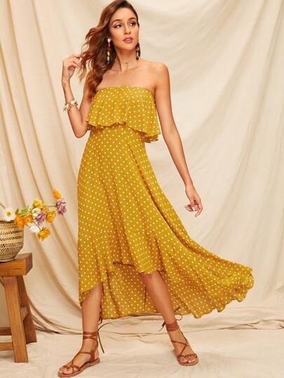 e049a66768e4 Ruffle Trim Asymmetrical Hem Dot Tube Dress