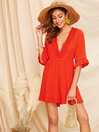 d54085bc06e6 Neon Orange Plunging Neck Lace Trim Romper