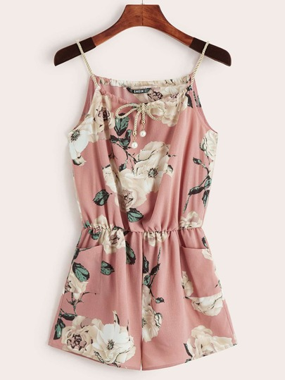 654a701768 Floral Print Pearls Tie Front Pocket Cami Romper