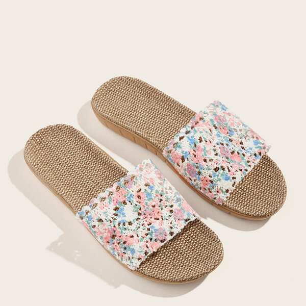 Open Toe Floral Print Slippers, Multicolor