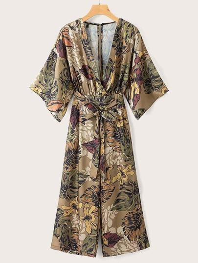 1fcb0c1b512 Self Tie Tropical Print Jumpsuit
