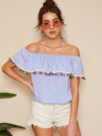 a114d690b78ff0 Striped Pom Pom Detail Off The Shoulder Blouse