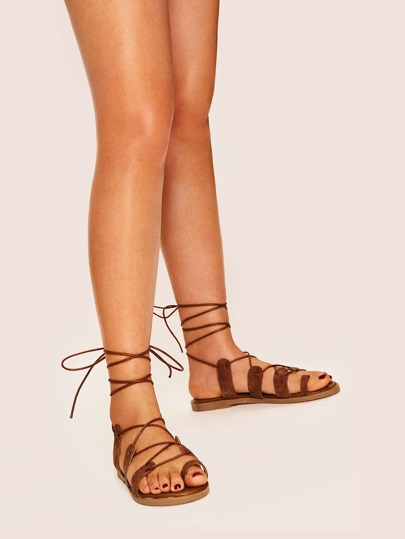 38d1f906068 Gladiator Lace-up Flat Sandals