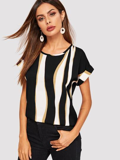 9cb3ccd7656 Cuffed Sleeve Color Block Top