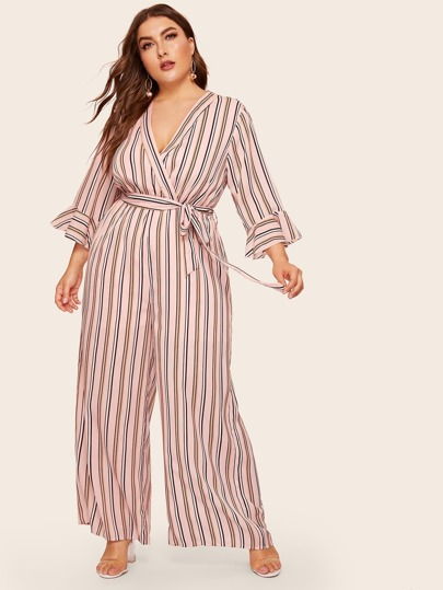 418e08d4c69 Plus Split Back Wrap Belted Wide Leg Striped Jumpsuit