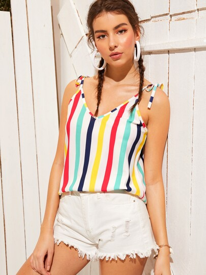 4def8c72b879ae Colorful Striped Knot Cami Top