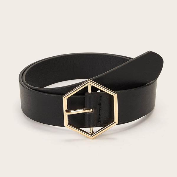 Hexagon Buckle Belt, Black