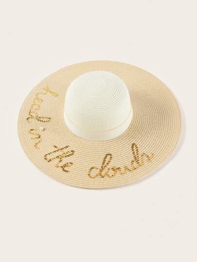 09e2ec96799d0 Sombrero de ala ancha con diseño de letras con lentejuelas