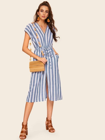 de734b8b189 Striped Drawstring Waist V-neck Dress