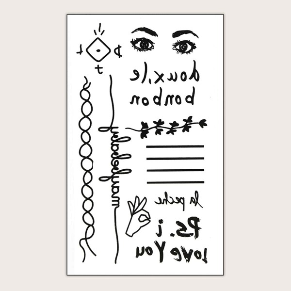 Letter & Figure Tattoo Sticker 1sheet