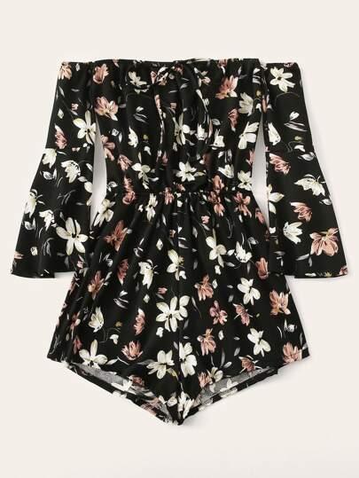 2ad3965373a Plus Floral Print Flounce Sleeve Romper