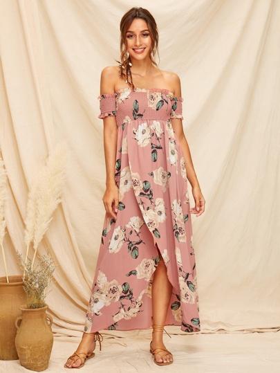 b6411fa4d1c Off Shoulder Shirred Bodice Wrap Split Floral Dress