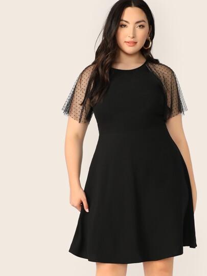 fe09c252f17 Plus Dot Mesh Raglan Sleeve Flare Dress