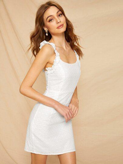 c081409f4cc2 Eyelet Embroidery Frill Cami Dress