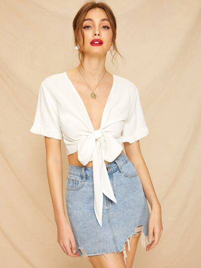 1020a72b61014 Knot Front Frill Cuff Crop Blouse