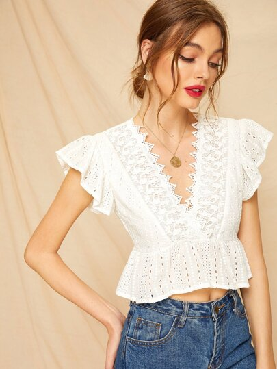 f992f168fdc831 Contrast Lace Eyelet Embroidered Peplum Blouse