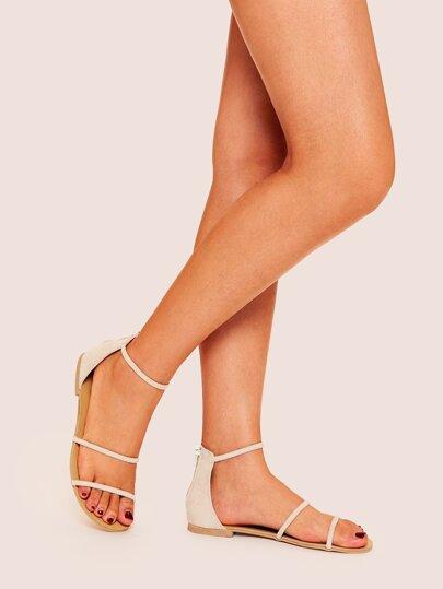 f2f0c5132 Back Zipper Ankle Strap Flat Sandals