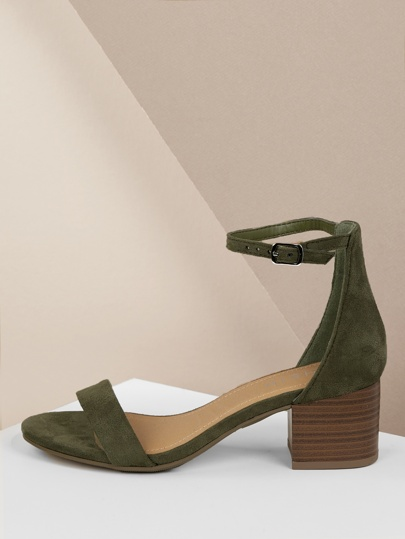2097391a129b82 Open Toe Stacked Chunky Heel Sandal