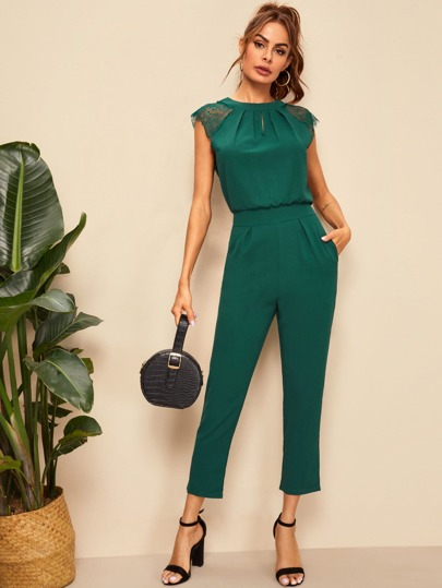 48a83a003df0 Contrast Lace Cuff Pleated Jumpsuit