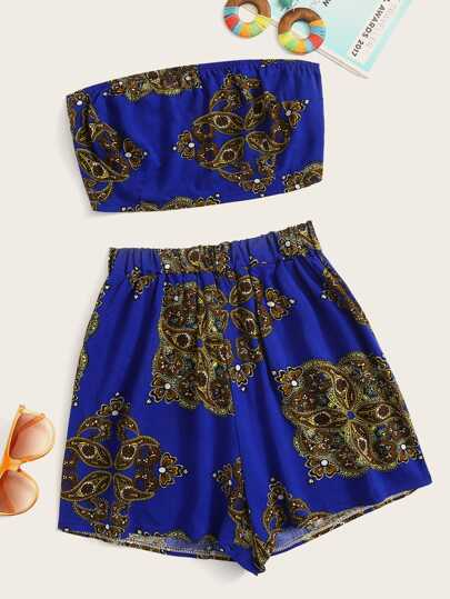 7ed067ee7a Paisley Print Crop Tube Top With Shorts