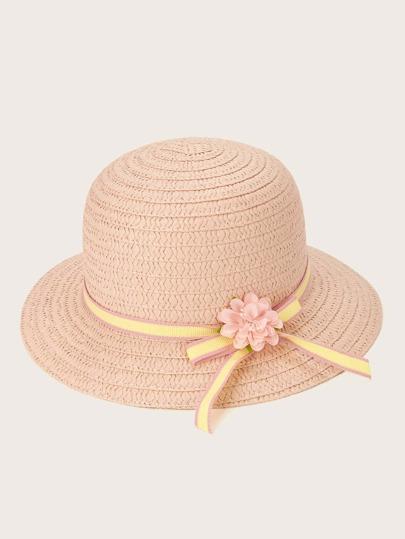1db956bf544 Girls Flower Decor Straw Paper Hat