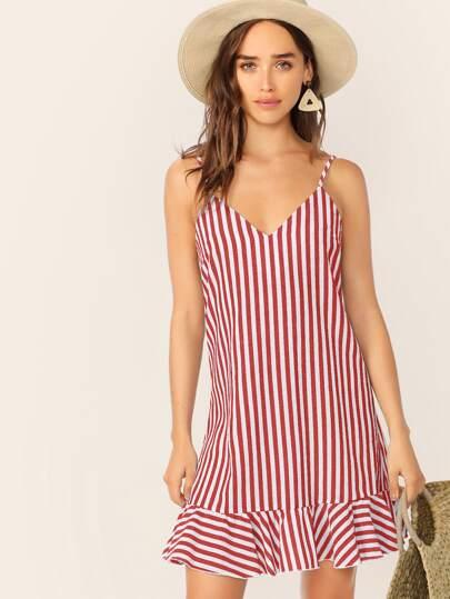 3340d14f7e4513 V-neck Striped Ruffle Hem Slip Dress