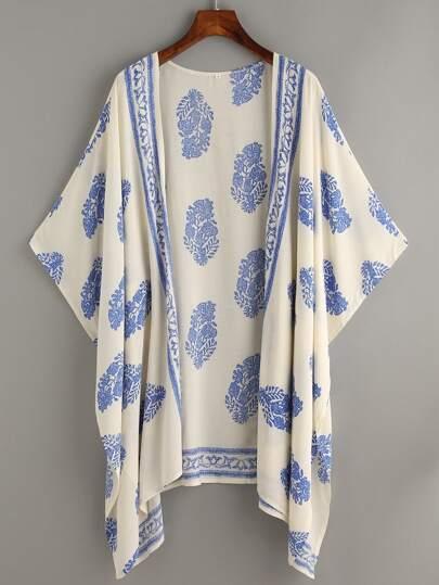 cd3394cb85 Plus Tribal Print Open Front Kimono