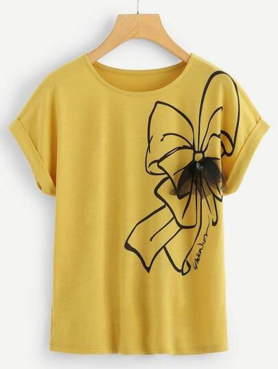 7de3287cf07cd0 Plus Bow Print Tee