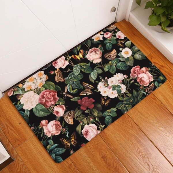 Flower Overlay Print Floor Mat, Multicolor