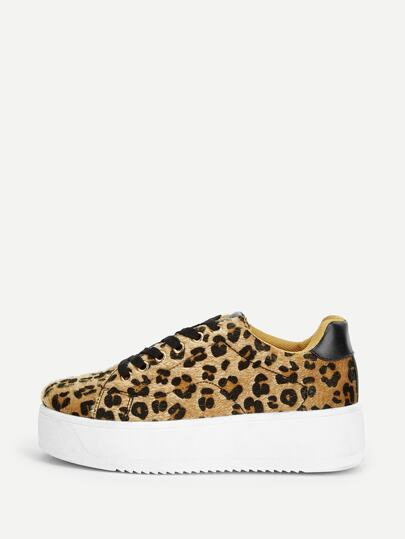 f22a301222d8 Leopard Pattern Lace-up Sneakers