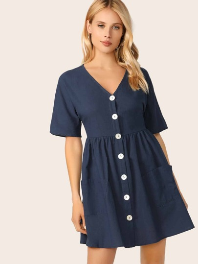 2e1e75268d Pocket Front Button Up Tea Dress