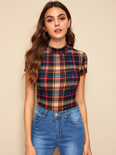 ddbed22e0156 Mock-neck Fitted Tartan Tee