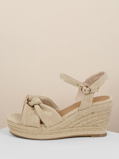 a898dd6f3c9 Twist Front Jute Wrap Platform Wedge Sandals